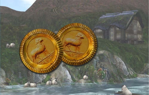 The golden sheep tokens - with a view of one of the Alchemy Immortalis sims behind, photographed by PJ Trenton