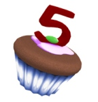 The Hunt token - a cupcake with a bright red 5 on top!
