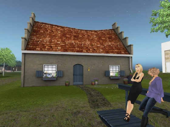 Talking to Froukje Hoorenbeeke outside the polder cottage she created for the Home and Garden Expo 2012