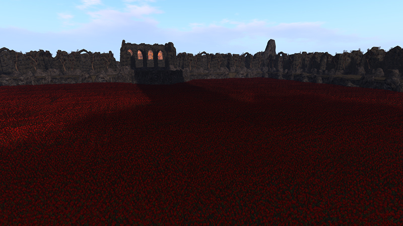 The Dark Tower casts its shadow across the crimson fields - photograph by Judith Lefevre