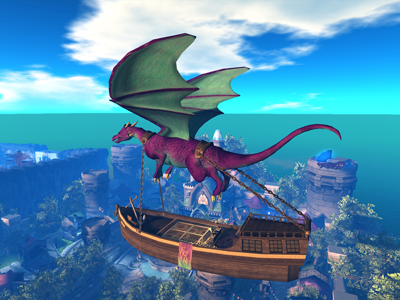 Dragon ship over Lumenaria