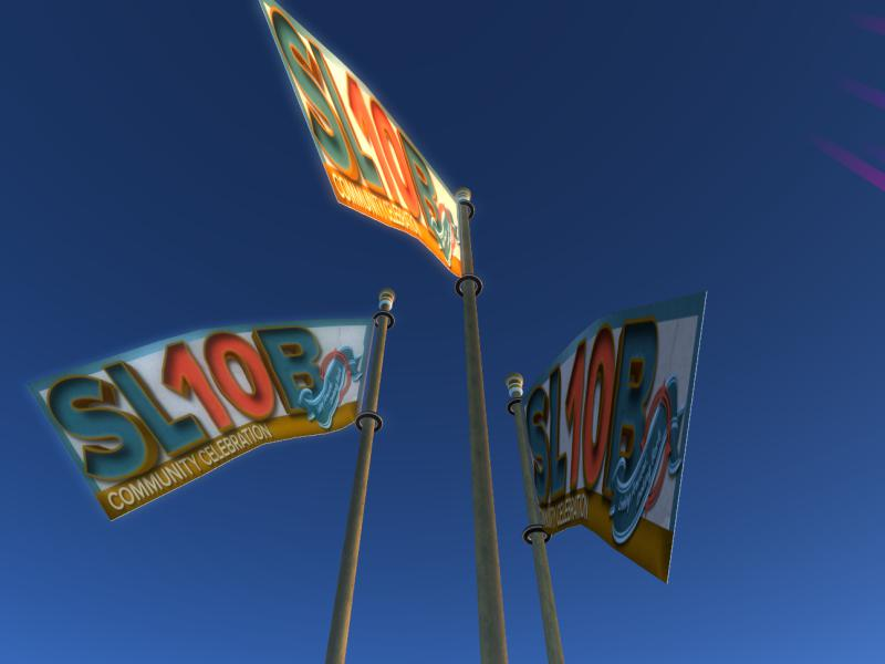 Flags flying over the SL10B Community Celebration