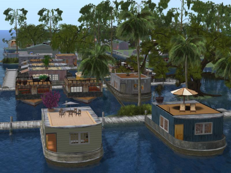 Part of the houseboat community in Junkyard Blues