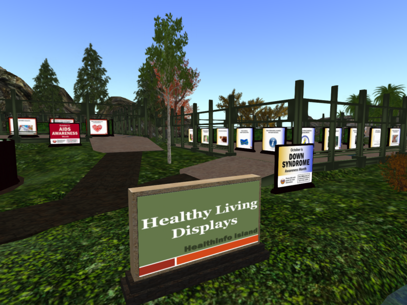 Some of the exhibits at Health Info Island