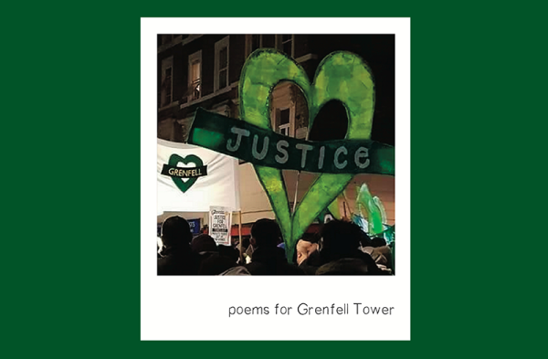 Image taken from the cover of the book, featuring a photograph of the monthly Grenfell silent walk, taken by Emily Clack Moulden of White City