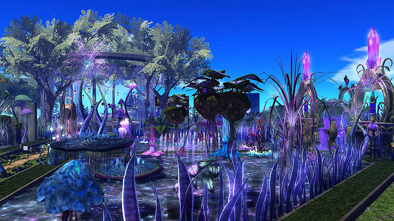Landscape designed by Eclair Martinel, One Billion Rising in Second Life 2021, photographed by Wildstar Beaumont