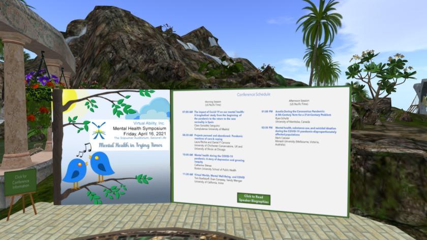 Posters at Virtual Ability's Sojourner Auditorium